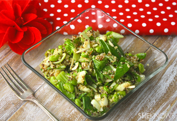 Bok choy and quinoa salad with edamame and spicy soy-ginger dressing