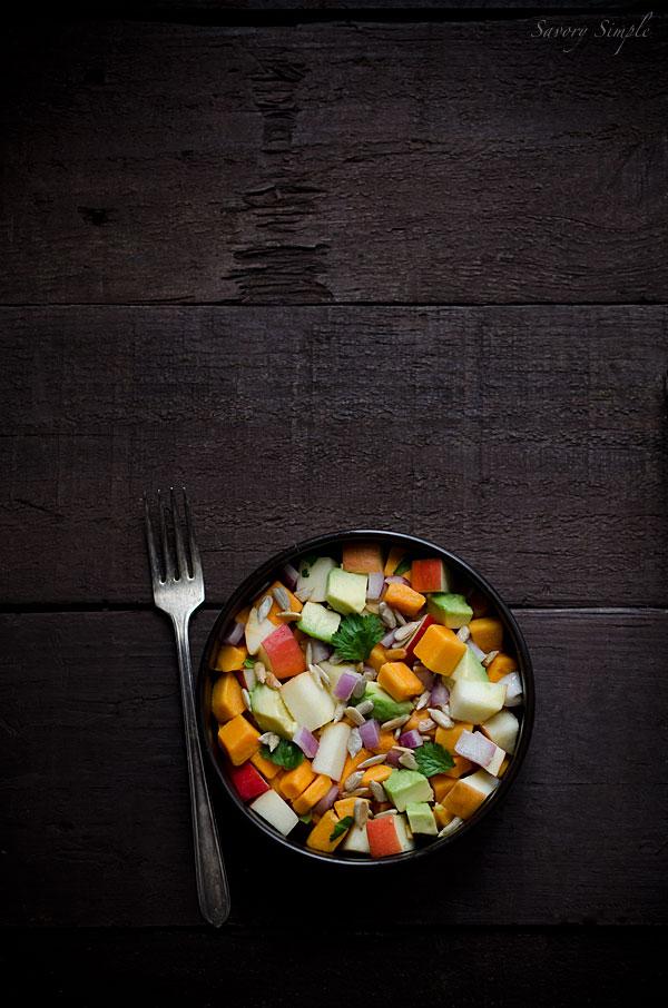 Sweet potato, apple, and avocado salad