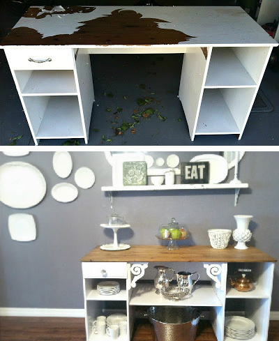 Dingy desk to beautiful buffet