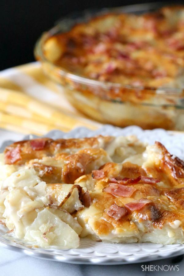 Creamy horseradish and bacon au gratin potatoes