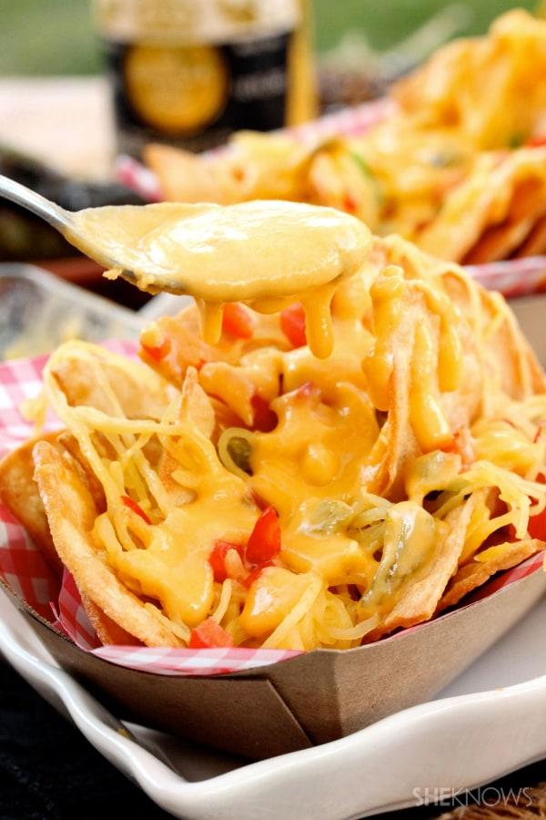 Spaghetti squash with roasted jalapeno cheese sauce recipe