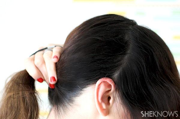 Ballerina bun braid tutorial Step 1 part hair