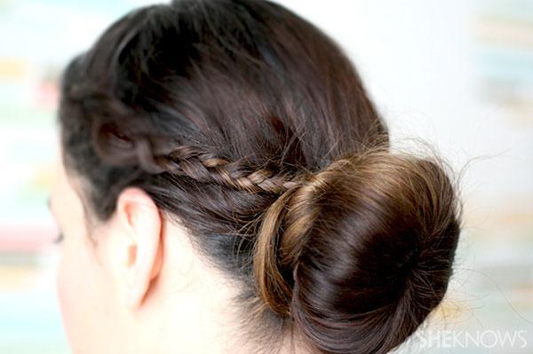 Ballerina bun braid tutorial Step 6 take braids to bun