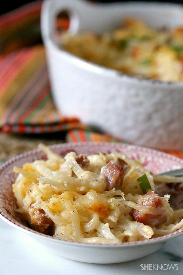 Smoked sausage cheesy potato casserole