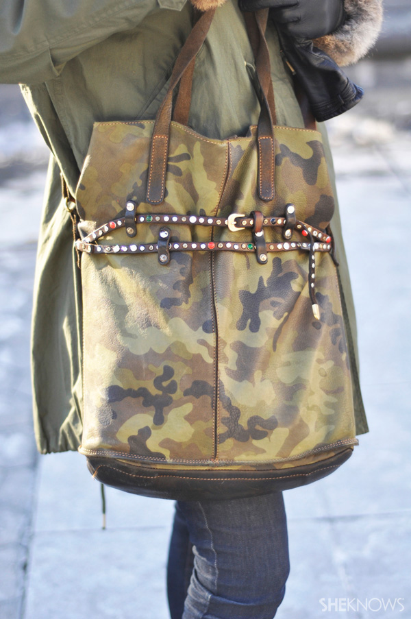 Leather straps and embellishment on your purse look fun yet sophisticated.