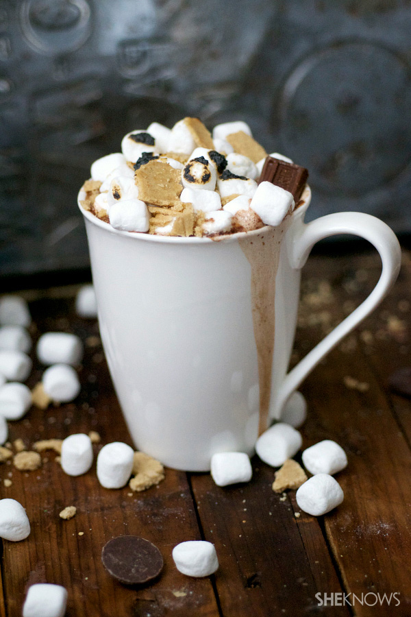 Boozy s'mores hot chocolate