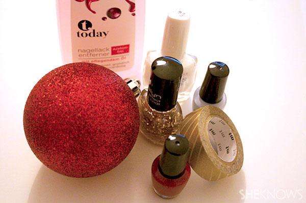 Glittery Christmas nail art tutorial supplies
