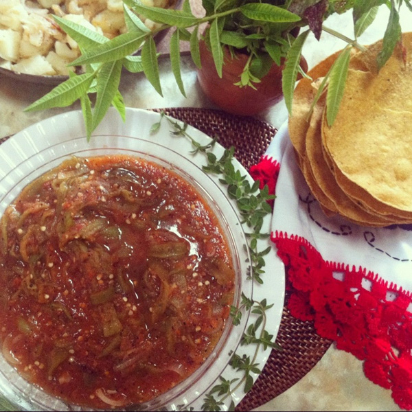 Hatch chile strips in red salsa