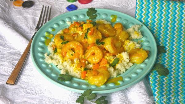 Gluten-free curried shrimp with cauliflower rice