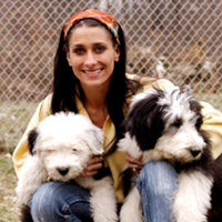 Woman volunteering with dog