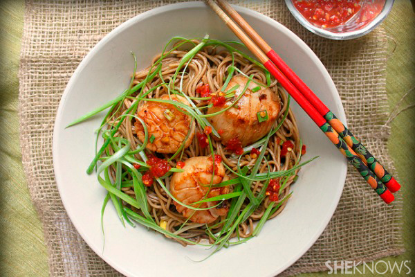 scallops with soy-citrus soba noodles