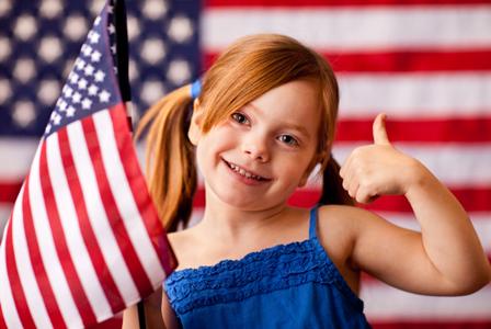 Patriotic girl on Veterans Day