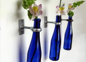 Wine bottle wall vases