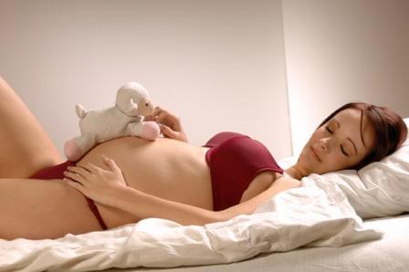 Pregnant woman asleep