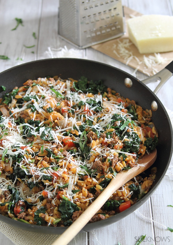 Beef orzo skillet