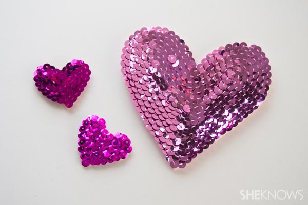 DIY Sequin heart accessories