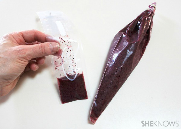 Blueberry smoothie in a pastry and freezer bag