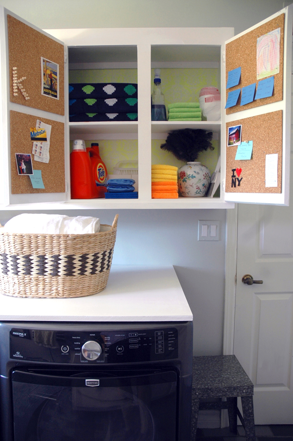 Pegboards in the cupboards