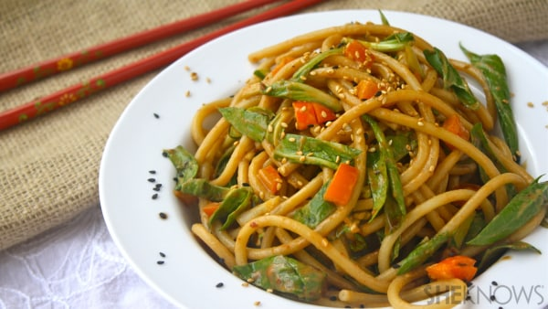 Cold noodle & bok choy salad with zesty sesame dressing