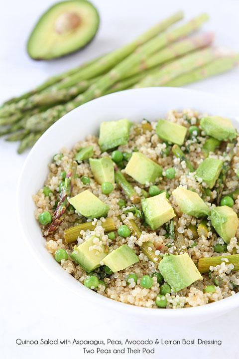 Quinoa salad with asparagus, peas, avocado, and lemon basil dressing
