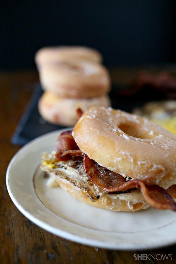 Totally loaded breakfast glazed donut sandwich