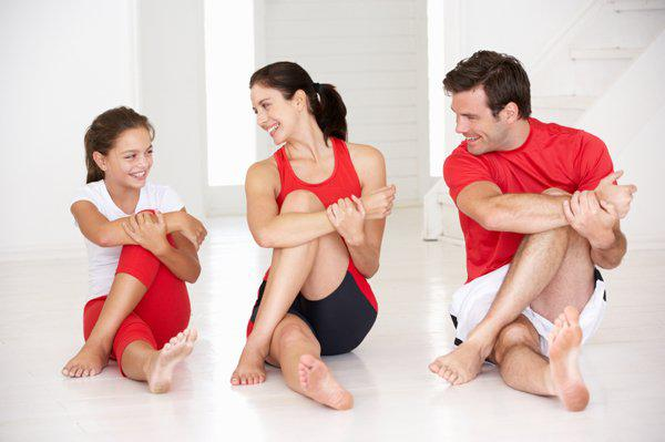 family doing stretching