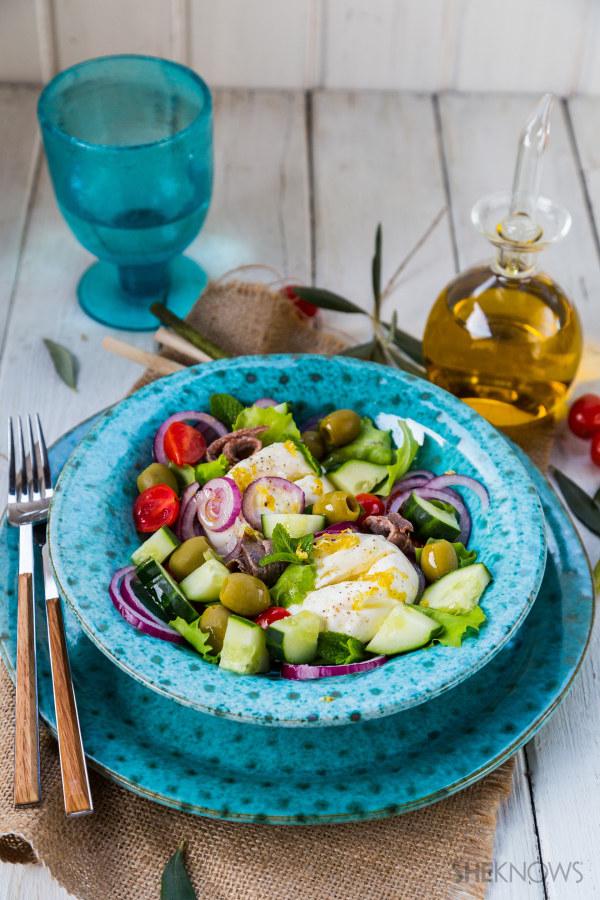Greek salad with burrata recipe