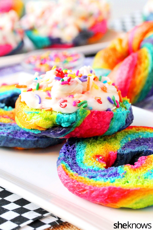 rainbow bagels with funfetti cream cheese