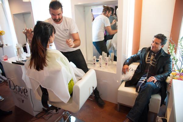 Mario Lopez watches wife Courtney get her sexy new 'do from celebrity stylist Matt Fugate.