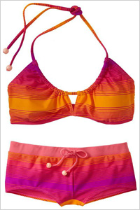 Swimsuit: Striped boy-short bikini