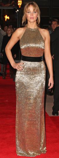 Jennifer Lawrences at The Hunger Games premiere -- London