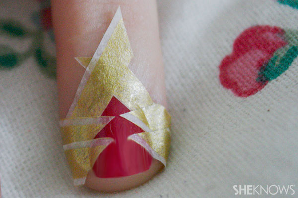 Christmas tree nail art tutorial Step 3 form tree shape