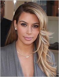Kim Kardashian wearing a gray dress