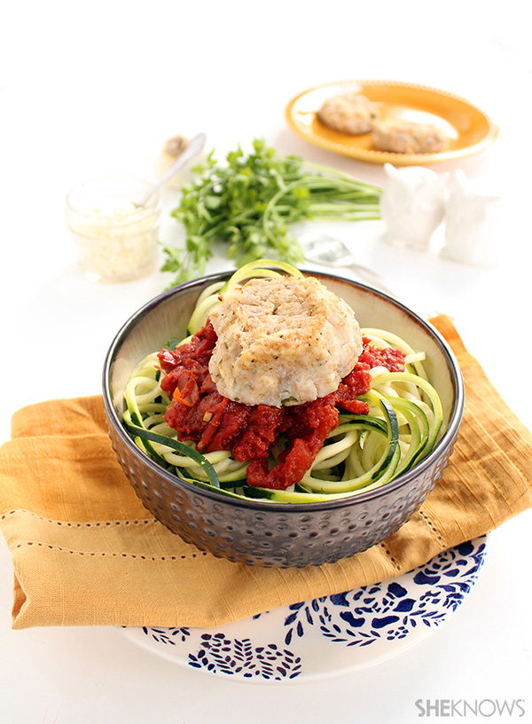 Cauliflower feta meatballs and spicy harissa tomato zucchini noodles