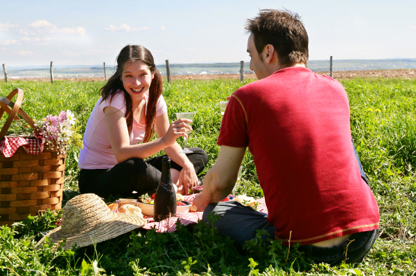 Married Couple having picnic
