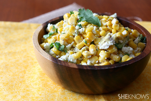 Corn salad with avocado and queso fresco