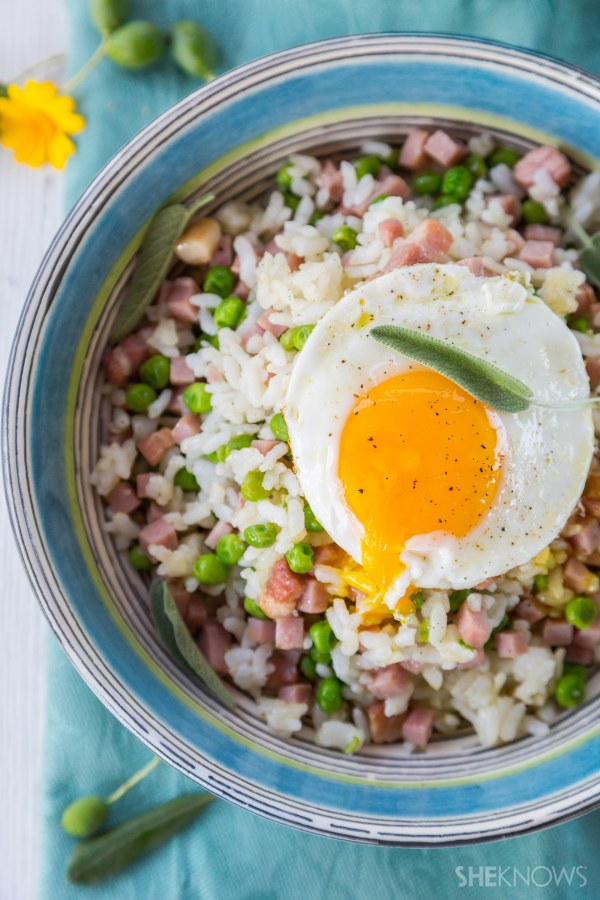 Breakfast fried rice with bacon, ham and eggs recipe