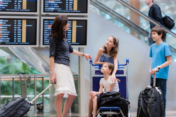 mother with kids at the airport