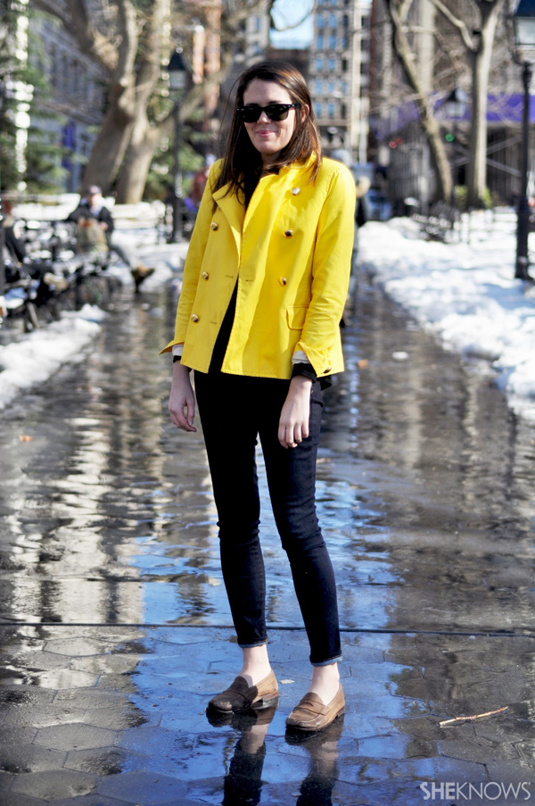 An adorable cropped jacket in bright yellow will release you from your parka oppression.
