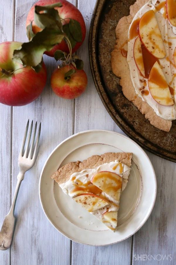 Caramel apple cheesecake dessert pizza
