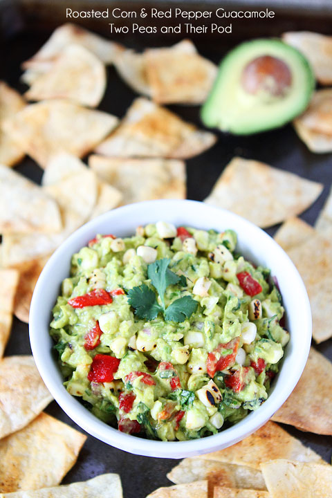 Roasted corn and red pepper guacamole