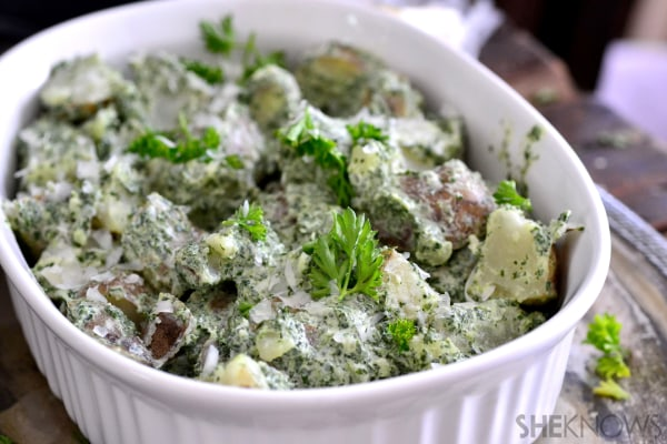 Spinach and truffle ranch potato salad