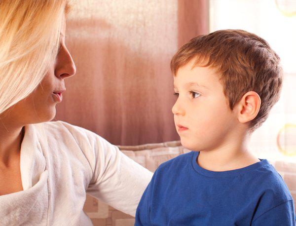 mother talking with son