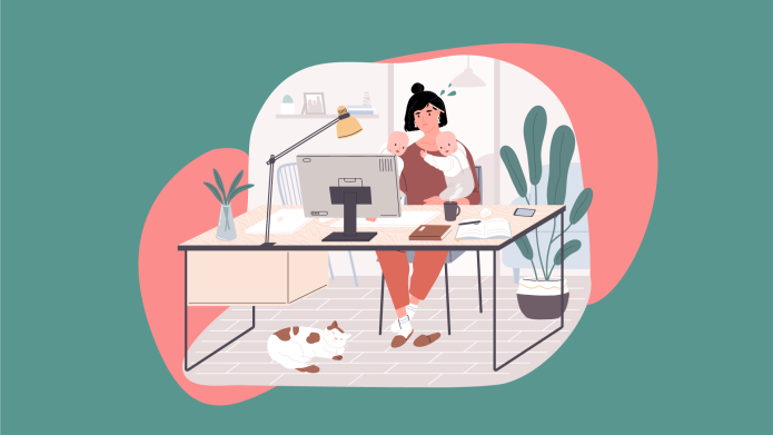 New mom working from home with