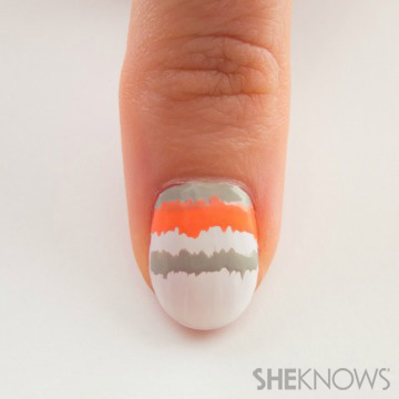 Wooly pink striped nail design inspired by Chanel