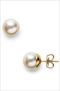 Majorica White Man-Made Pearl Stud Earrings