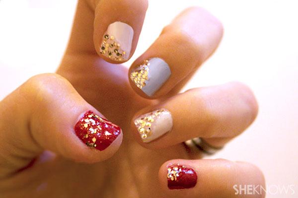 Glittery Christmas nail art tutorial Step 4 finish with topcoat