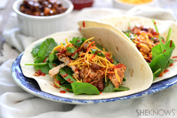 Spicy BBQ chicken and three bean taco