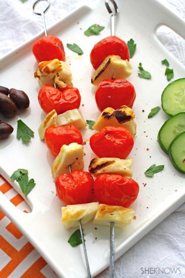Grilled Peppadew peppers and halloumi skewers with olive tapenade