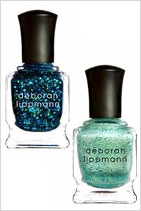 Deborah Lippmann blue glitter nail polishes in Across the Universe, and Mermaid's Dream